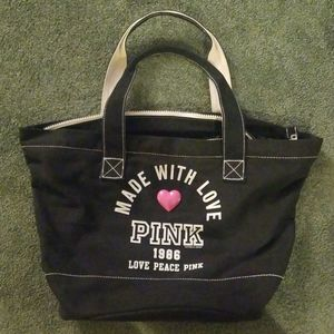 Victoria Secret Pink Canvas Zipper Tote Bag